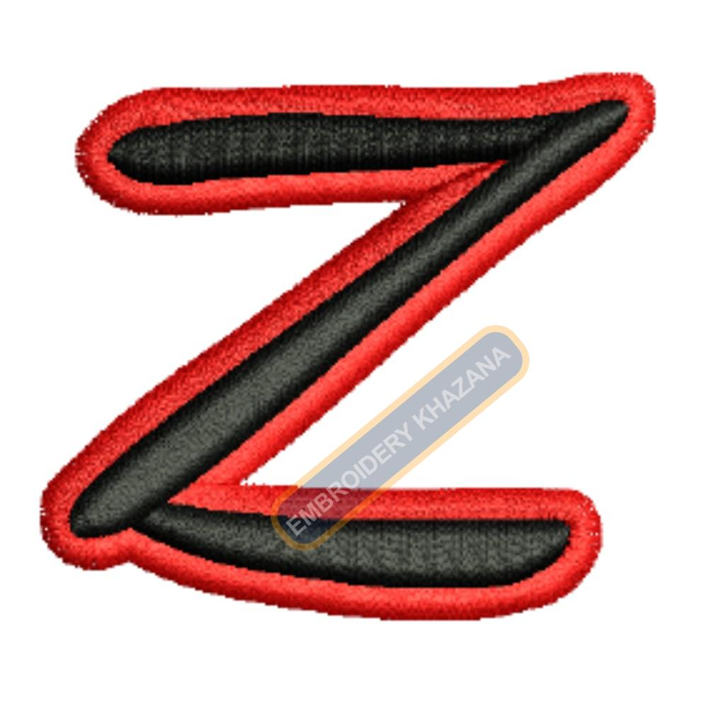 3D PUFF Z WITH OUTLINE EMBROIDERY DESIGN